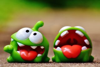 The little green monster from cut the rope, another fun and popular app game
