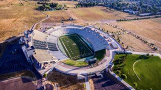 A football field picture taken overhead