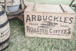 A branded box of arbuckles coffee beans