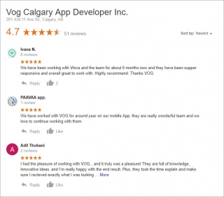 Vog App Developers Google reviews from customers who were looking for a mobile app development company in Canada