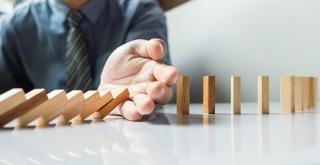 Business man managing risk HSE